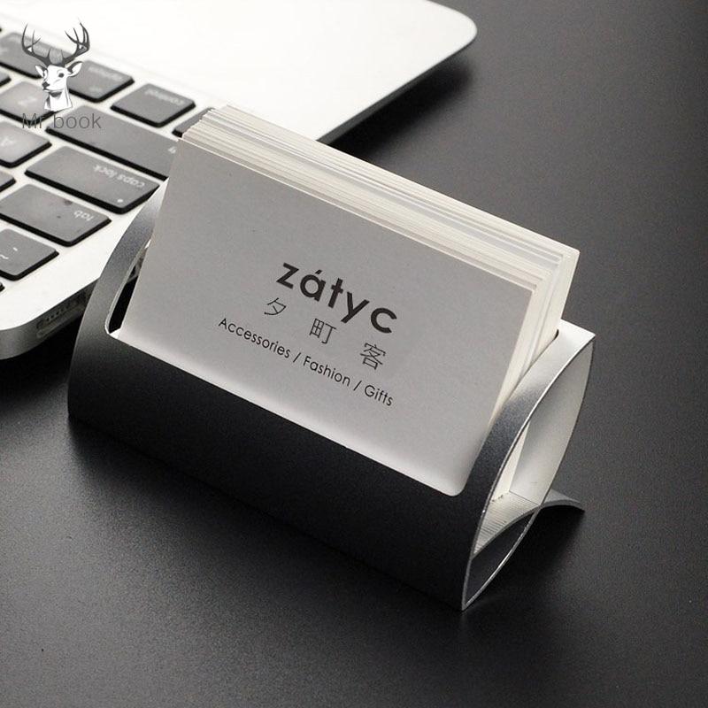 Metal Business Card Holder Desk Shelf Box Storage Display Stand Office Desk Business Card Organizer Desk Accessories Stand Clip
