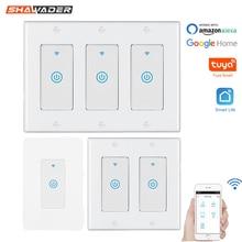 Inteligente wi fi luz toque interruptor de parede eua interruptor controle voz elétrica sem fio remoto por tuya smartlife alexa casa do google