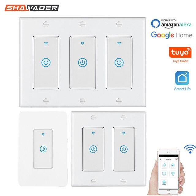 Smart WiFi Licht Touch Wand Schalter UNS Interruptor Drahtlose Elektrische Voice Control Fernbedienung durch Tuya Smartlife Alexa Google Hause