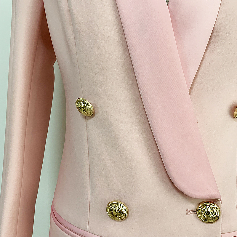Image 5 - HIGH QUALITY Newest 2020 Stylish Designer Blazer Womens Metal  Lion Buttons Shawl Collar Long Blazer JacketBlazers