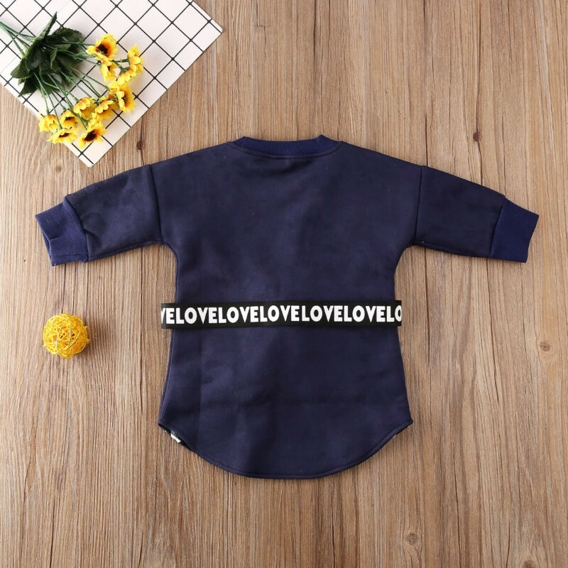 2020 Kids Baby Girl Clothes  Long Sleeve Sweatshirt Straight Dress With Belt Autumn Infant Toddler Casual Outfits 1-5T 6