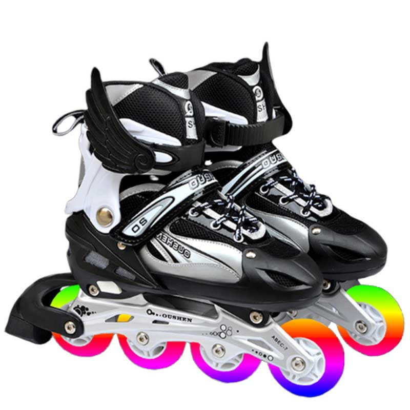 Quick Inline Row Roller Skates Adjustable Size Sliding Obstacle Professional Row Ice Skates Shoes Single Flash For Kids Adults