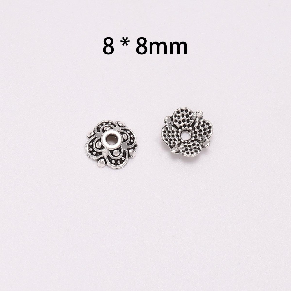 50Pcs Lot 8mm Antique Silver 4 Petals Flower Bead End Cap For Beads Jewelry Making Findings Diy Needlework Accessories Wholesale in Jewelry Findings Components from Jewelry Accessories