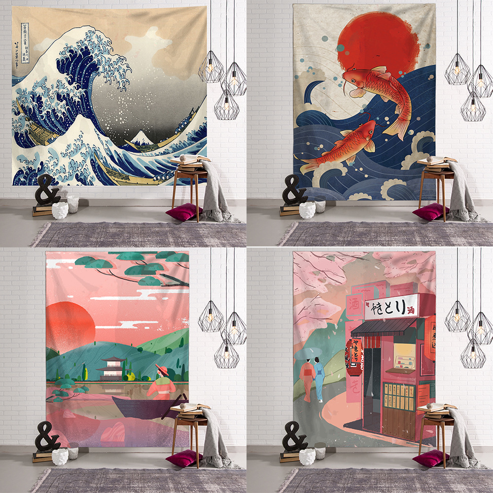 Japanese Blanket Big Tapestry Whale Arowana Dragon Phoenix Totem Wall Hanging Bohemian Bed Blanket Home Decor Tapestry