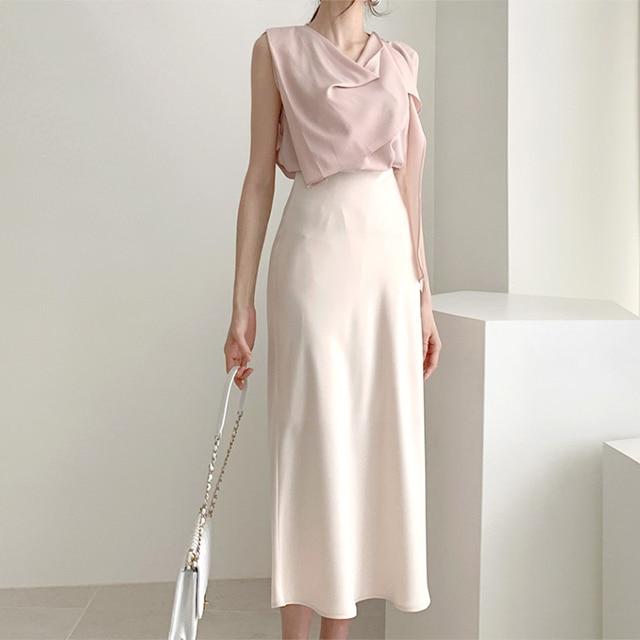 Elegant High Waist Satin Skirt Women Casual A-Line Midi Silk Slim Summer Autumn 1