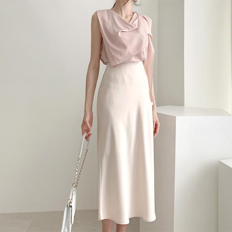 Elegant High Waist Satin Skirt Women Casual A-Line Midi Skirts Silk Slim Summer Autumn Skirt