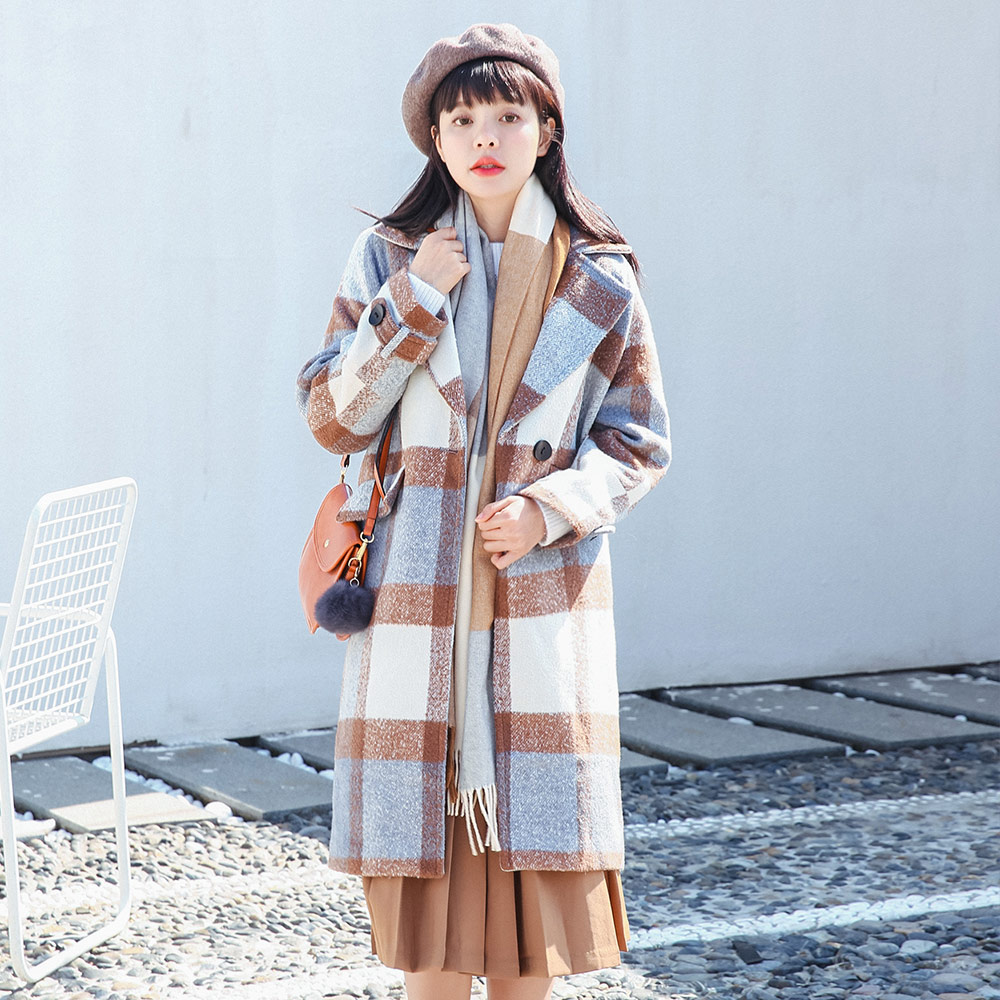Winter New Retro Big Plaid Woolen Coat Fashion Long Thickening Outwear Warm Loose Coat
