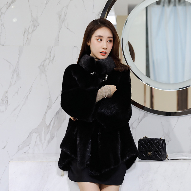 Mink Real Fur Coat Female Luxury Natural Full Pelt Fur Jackets Winter Jacket Women Vintage Long Jacket Chaqueta Mujer MY