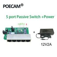 5 Порты и разъёмы 12V 15V Пассивный Poe коммутатора ethernet 10/100 Мбит/с коммутатор poe 4 Порты и разъёмы питания для камеры видеонаблюдения IP телефон ip камеры 4/5+ 7/8