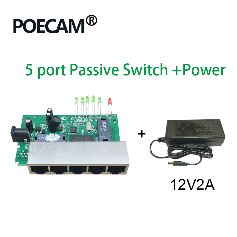 5 Port 12V 15V Passive Poe Switch Ethernet 10/100Mbps Switch Poe 4 Port Power For Cctv Camera IP Phone Ip Cameras  4/5+ 7/8-