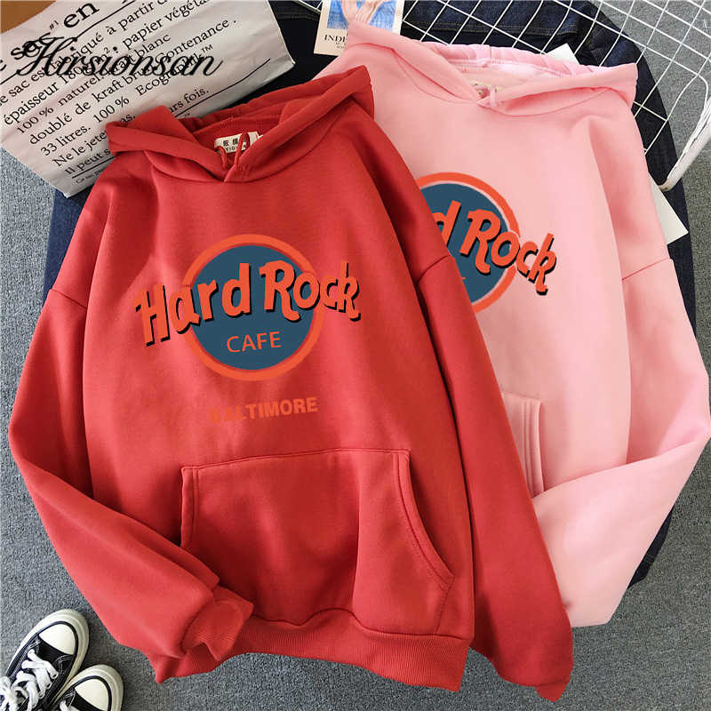 Hirsionsan Hard Rock Brief Gedrukt Sweater Vrouwen Winter Warm Streetwear Oversized Truien Punk Grafische Thicken Hoodies