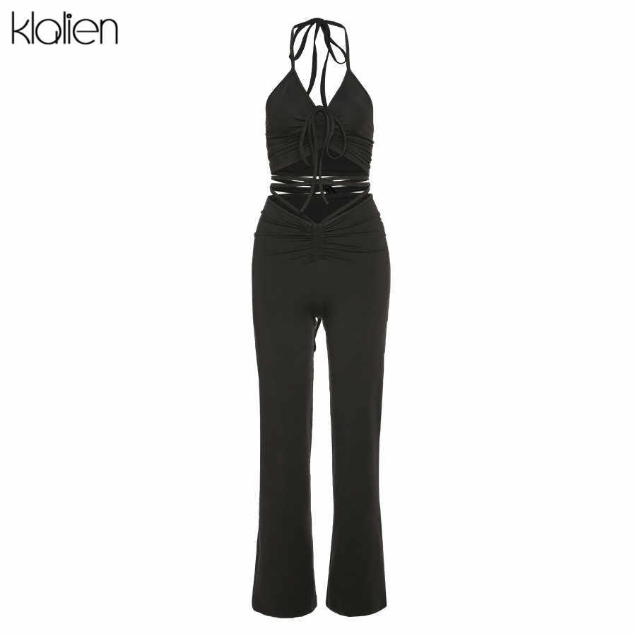 KLALIEN moda seksi kaşkorse ve pantolon 2 parça set yaz rahat basit ince sokak ofis bayan katı iki parçalı set kadın