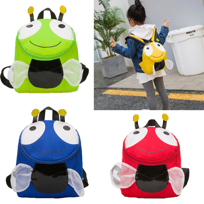 New Cartoon Little Bee Safety Harness 3D Backpack Toddler Anti-lost Bag Children Schoolbag Adjustable Shoulder Strap With A Lock