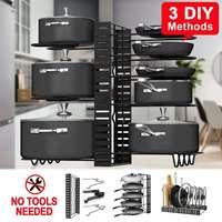 3 Types DIY Adjustable Pan Organizer Rack Pot Lid Holder Folding Cookware Bakeware Chopping Board Organizer Shelf Rack Home