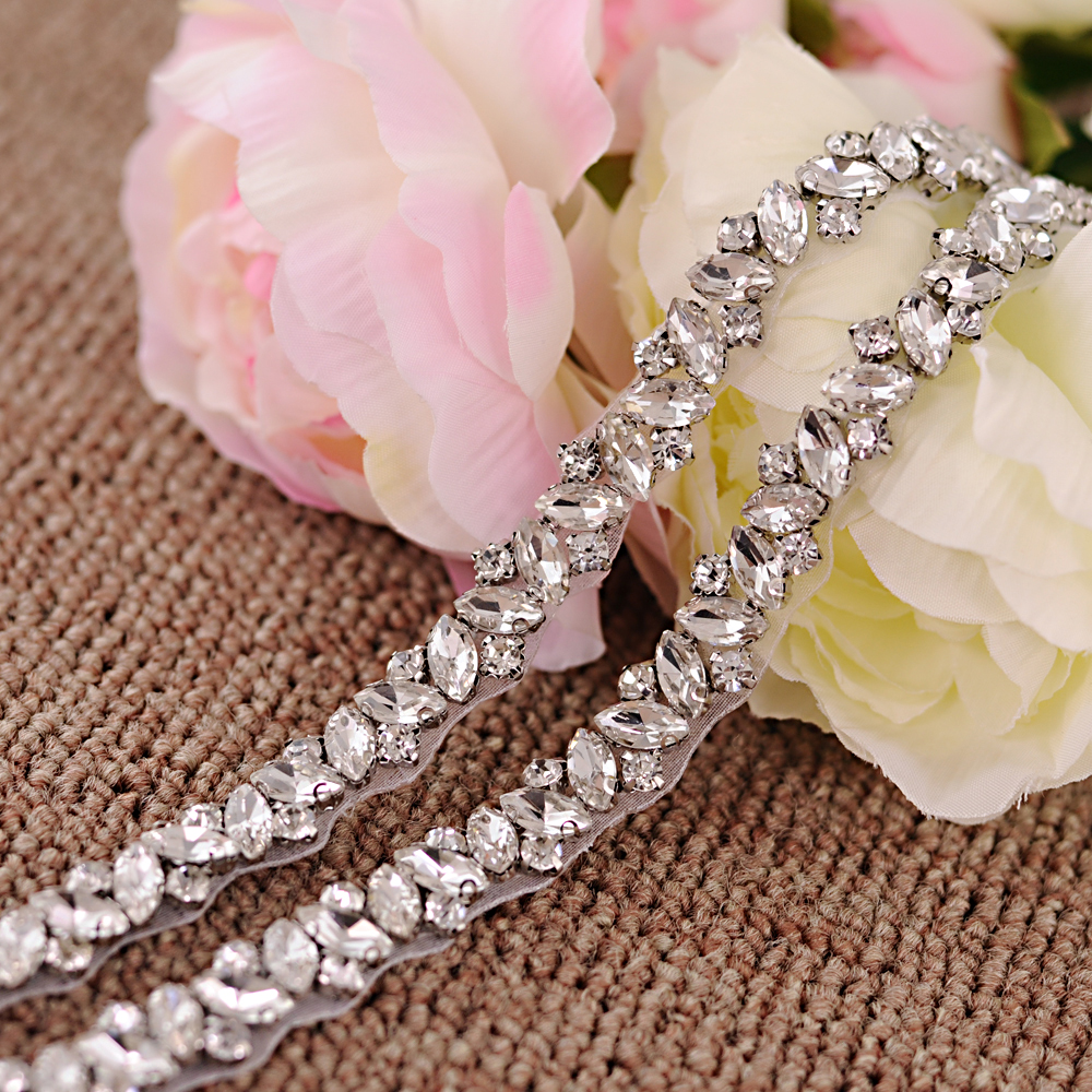 TRiXY S404 Shinny Wedding Belt Rhinestones Belt Silver Diamond Belt Bridal Belt Wedding Gown Belt Evening Dress Belt Thin Belt
