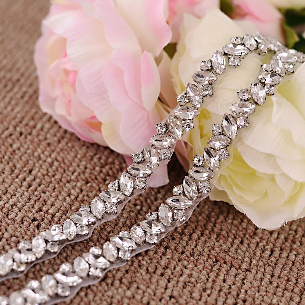TRiXY S404 Shinny Wedding Belt Rhinestones Belt Silver Diamond Belt Bridal Belt Wedding Gown Belt Evening Dress Belt Thin Belt