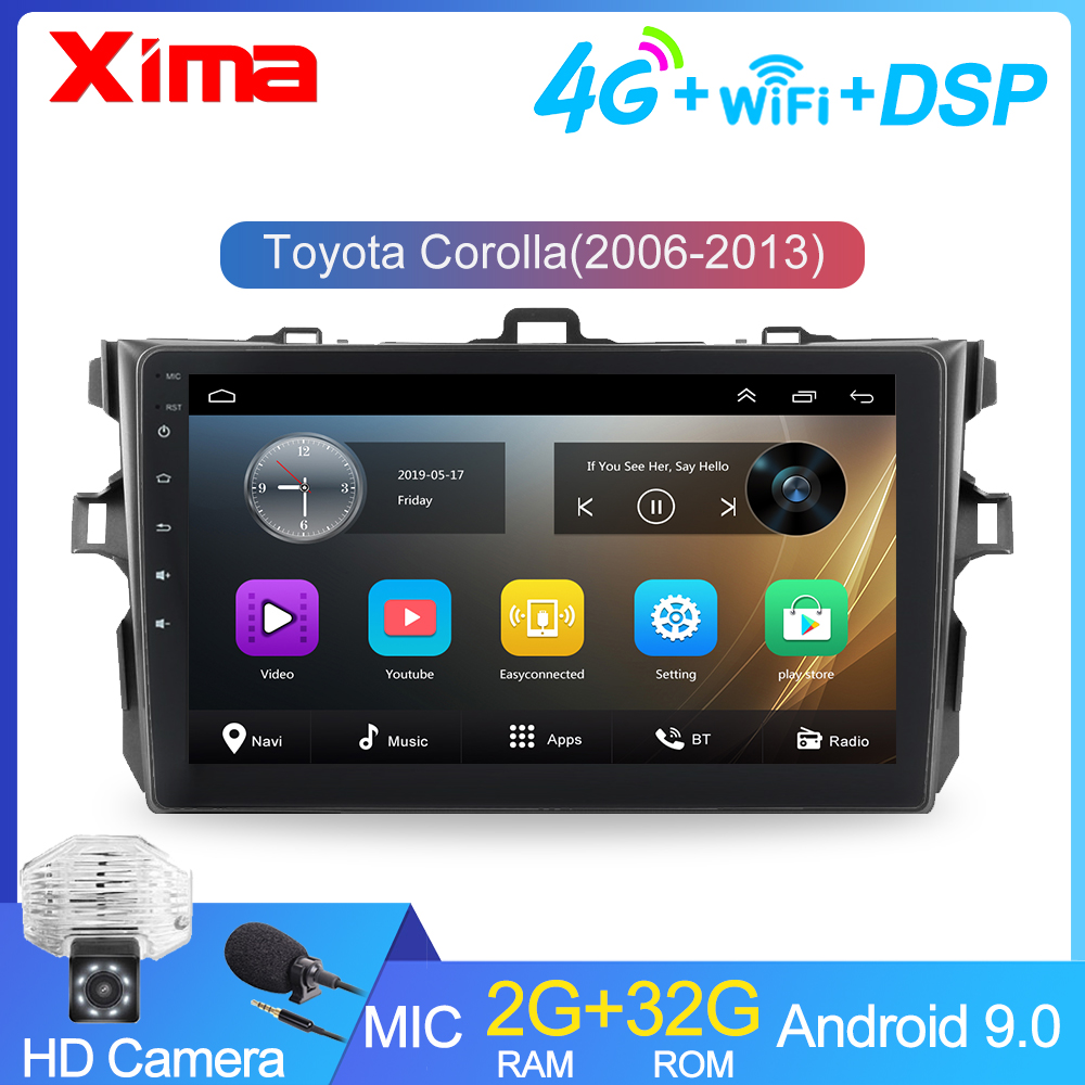 RAM 2G android 9.0 2Din Car Radio Multimedia Player For Toyota Corolla E140/150 2007 2008 2009 2010 2011 2012 2013 with car dvr(China)