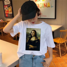 Summer Top T-Shirt Mona Lisa Streetwear Femme Kawaii Tumblr