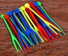50 pçs/set utensílios de cozinha ferramenta gadgets frutas lanche palito colorido transparente descartável comida picaretas salada garfos deserto