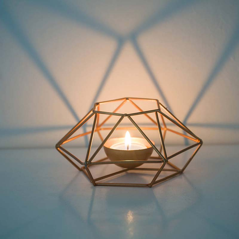 Christmas Decoration Geometric Iron Wall Sconce Candlestick Ornament Wall Sconce Matching Unisex Wedding Home Decoration Gift