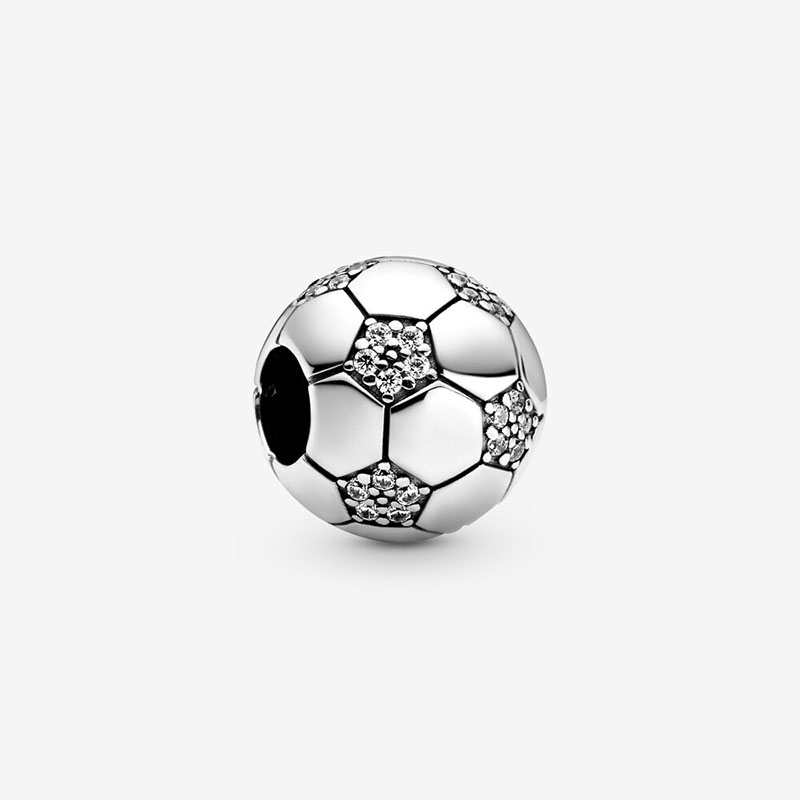 2020 Spring New 925 Sterling Silver Beads Sparkling Football Charms fit Original European Bracelets Women DIY Jewelry