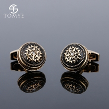 TOMYE Gold Sliver Classic Pattern Sleeve Button Business French Shirt Three-Dimensional Character Jewelry Cufflinks XK18S372