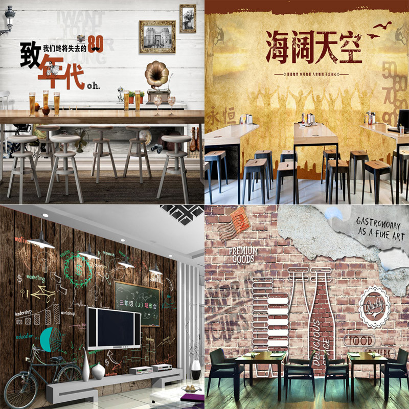European Style Retro Cement Brick Wall Beverage Water Bottle Catering Coffee Shop Bar Workwear Background Wallpaper Wall Cloth M