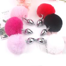Movconly Rabbit Tail Stainless Steel Metal Anal Plug Hair Ball Flirting Butt Sex Toys for Woman