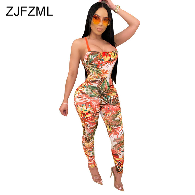 Leaves Print Sexy Cross Backless Romper Women Sleeveless Lace Up Bodycon Jumpsuit 2020 Summer Beach Hollow Out Bandage Bodysuit