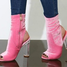 Sexy Pink Velvet Ankle Boots Peep Toe Clear Transparent Chun