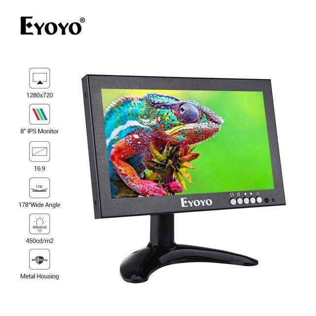 Eyoyo em08g 8 Polegada monitor pequeno hdmi, monitor portátil vga, tela cctv lcd 1280x720 16:9 ips visor do bnc av/vga