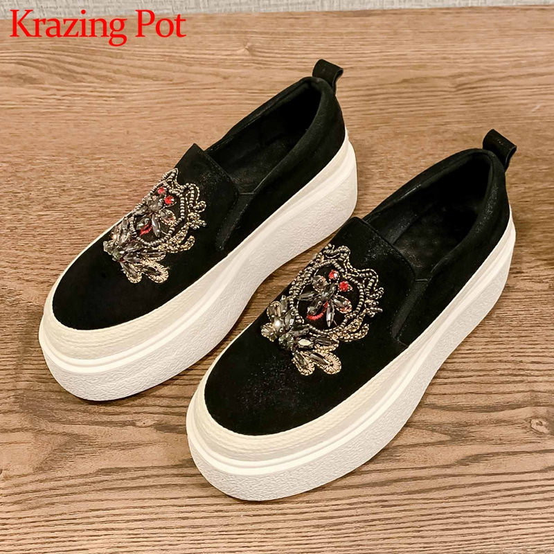 Krazing Pot Gorgeous Embroidered Slip On Casual Loafers Shoes Round Toe Thick Bottom Fashion Streetwear Vulcanized Shoes L99