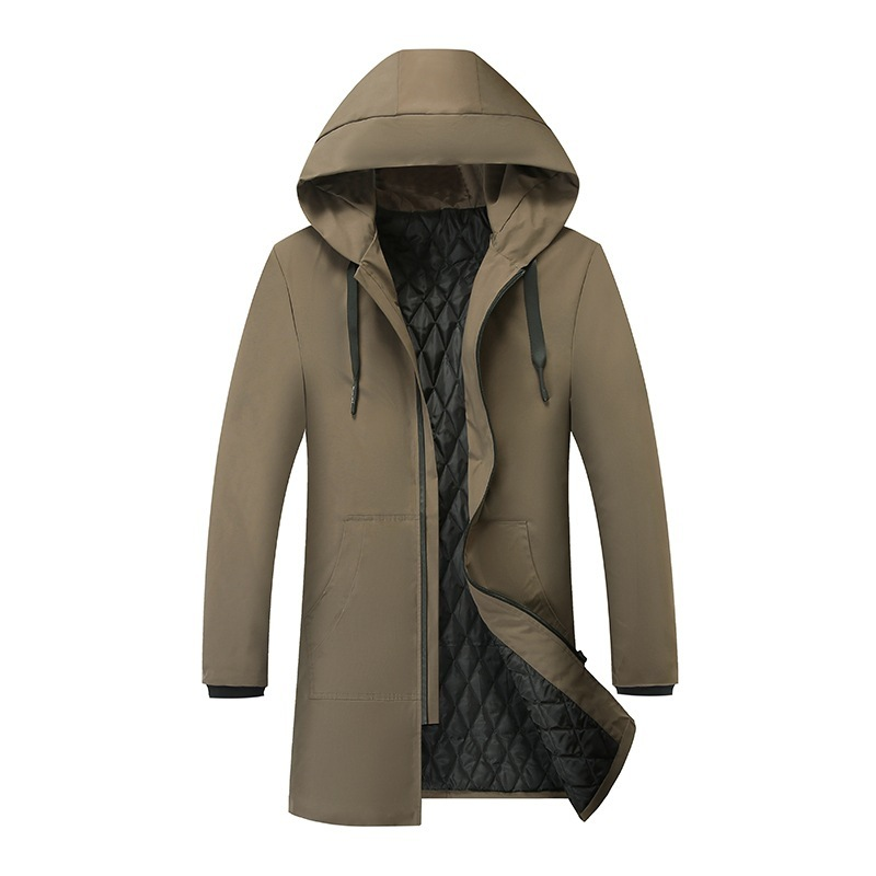 Зимняя стеганая куртка для мужчин 2020 длинная стеганая куртка молодежная с капюшоном плюс плотное пальто Мужская модная однотонная хлопковая куртка|Парки|   | АлиЭкспресс