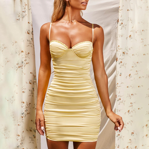 Image 5 - Justchicc Pleated Sexy Bodycon Dress Women Strapless Zipper V Neck Backless Bodycon Mini Dress Spaghetti Strap Party Club Dress