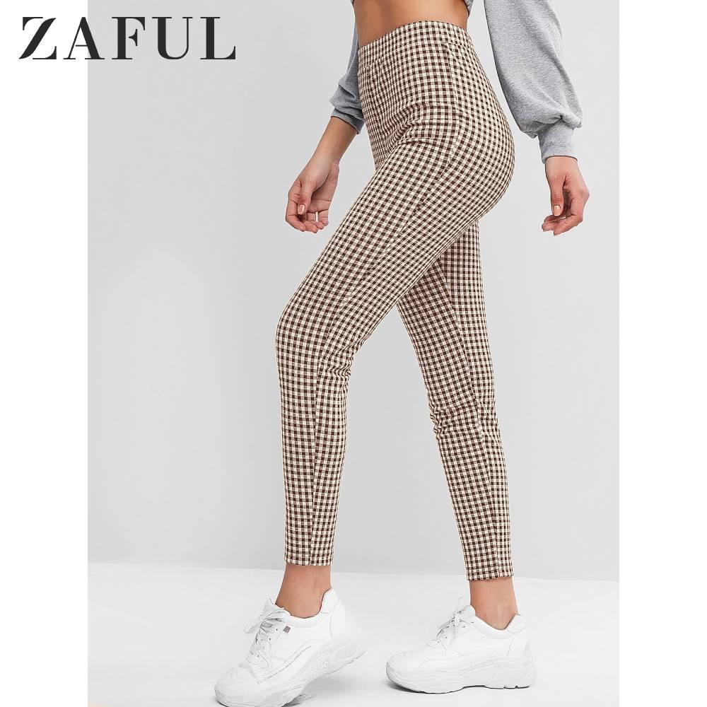 ZAFUL High Rise Plaid Skinny Leggings 7/8 Length For Women Fall Female Pans