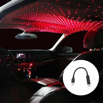Luces de techo para coche luz de noche USB Lámpara de Ambiente de coche fantástica estrella romántica luminosa cumpleaños Año Nuevo iluminación de fiesta