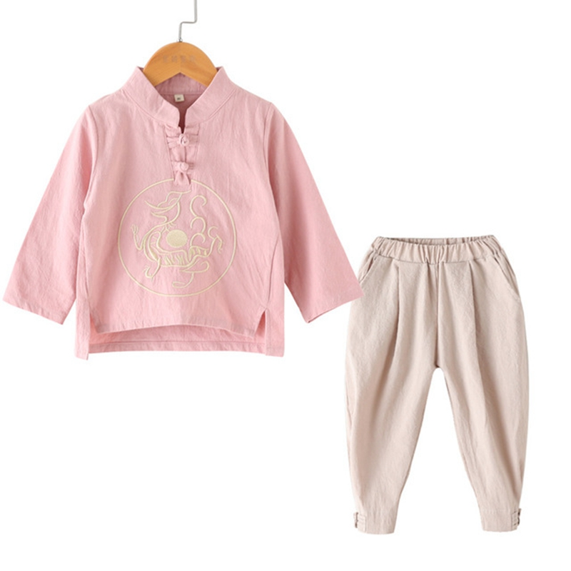 Chinese Children Clothing Boy Autumn Collar Shirt Unicorn Embroidery Pullover Shirt Autumn Long-sleeved Shirt With Closing Pants