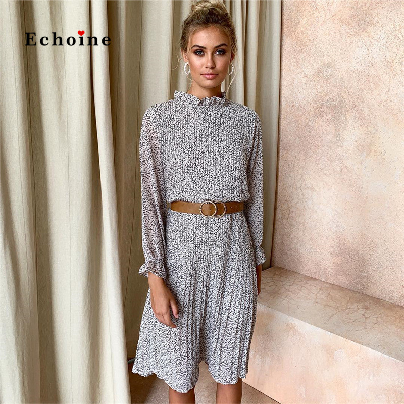 Echoine Casual Dress Women Sweet Ruffle Neck Office Lady Shirt Loose Pleated Dot Dresses Vestido Graceful Party Evening Clothing in Dresses from Women 39 s Clothing