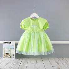 Midoo Fairy 2021 Summer Girls Kids Children s Cotton Dress Mesh Floral A Line Cute Short Puff Sleeve O Neck Casual Clothes