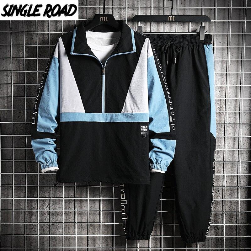 SingleRoad Men's Sportswear Tracksuit Men Patchwork Hip Hop Streetwear Jacket Sweatpants Jackets Joggers Pants Sets Sport Suits