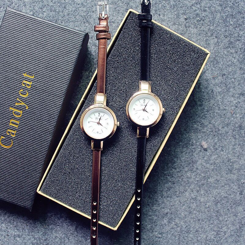 Women's Watches Leather Rhinestone Fine Strap Ladies Wristwatch Bracelet Quartz Wrist Watch Brown Black Clock Female Fashion