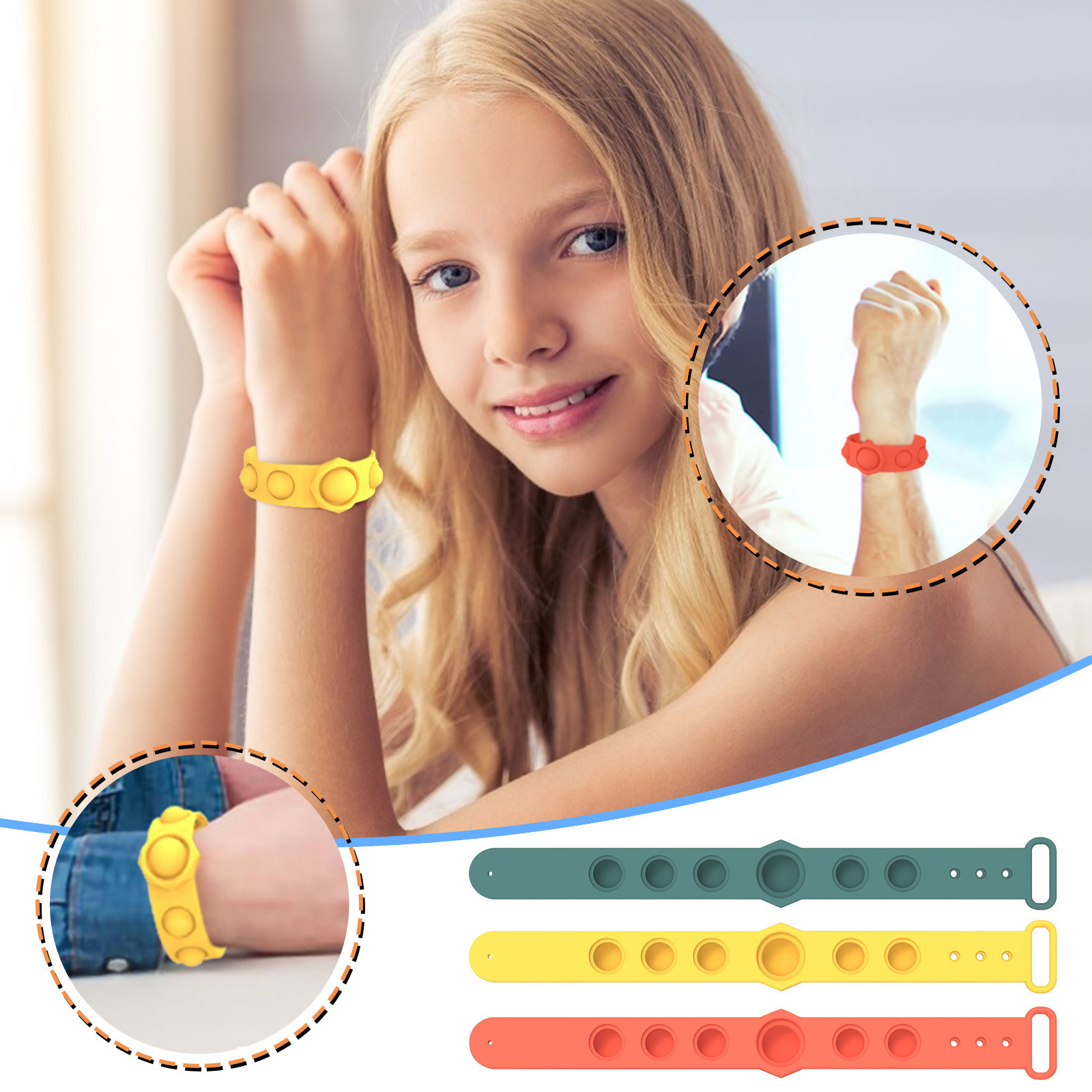 Decompression Toys Bracelet Fidget Relief Hand-Figet Soft-Silicone Simple Dimple Gifts