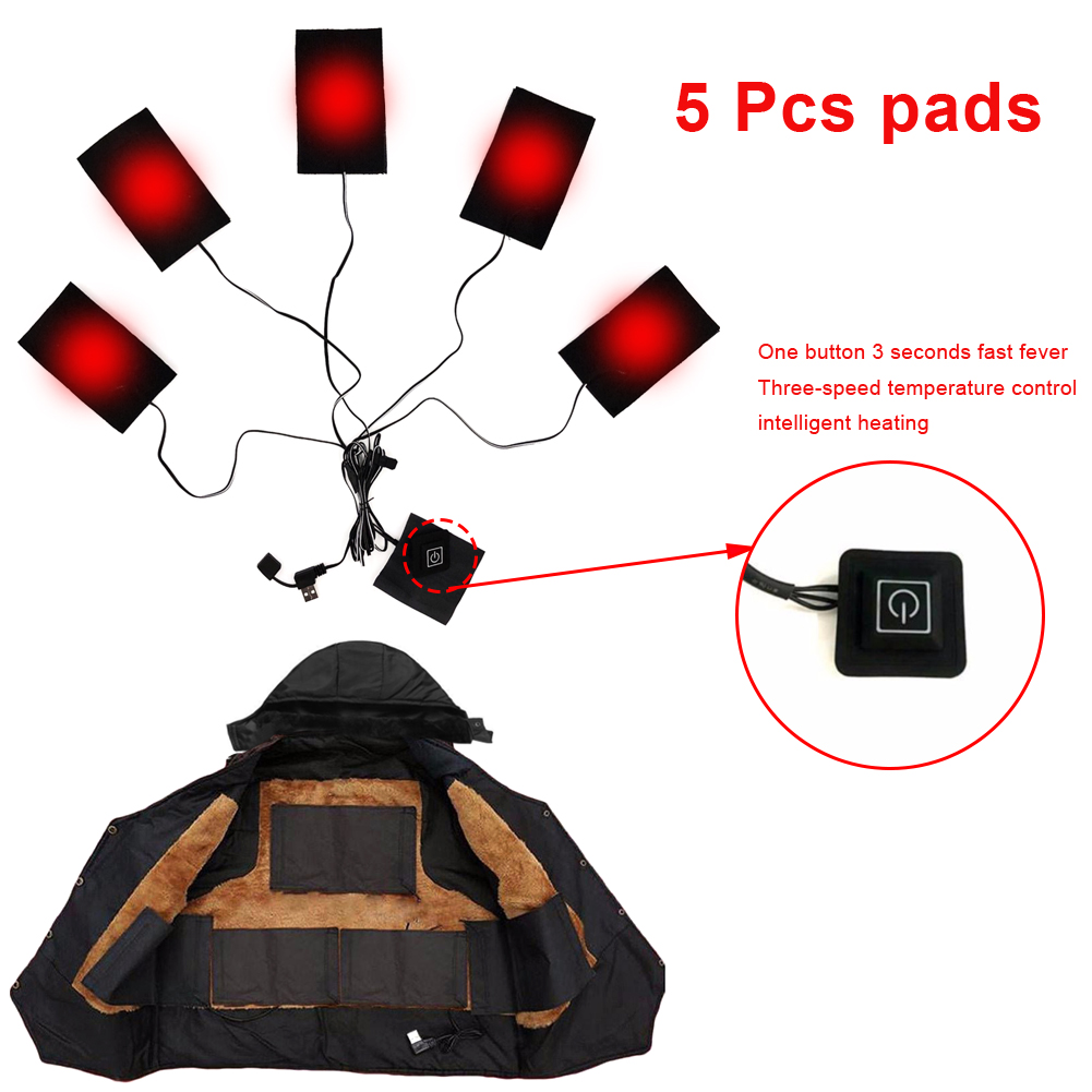 3% 2F5 жилет подогрев прокладки три уровень термостат USB электричество обогрев куртка прокладки для на открытом воздухе зима тепло сделай сам обогрев одежда