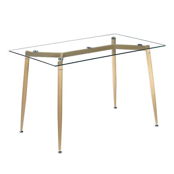 Simple Wood Grain Table Leg & Transparent Tempered Glass Dinner Table Minimalist Coffee Table Side Furniture Living Room Table 6