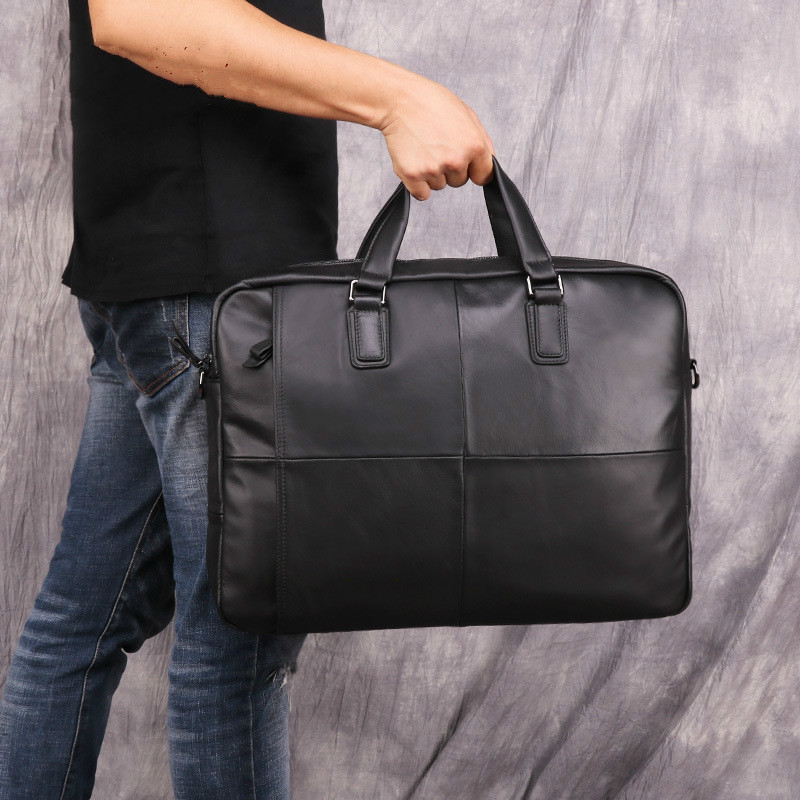 Men Briefcase Bag Genuine Leather Men Messenger Bag Man Laptop Bag For 15.6 Maletines Hombre Trabajo