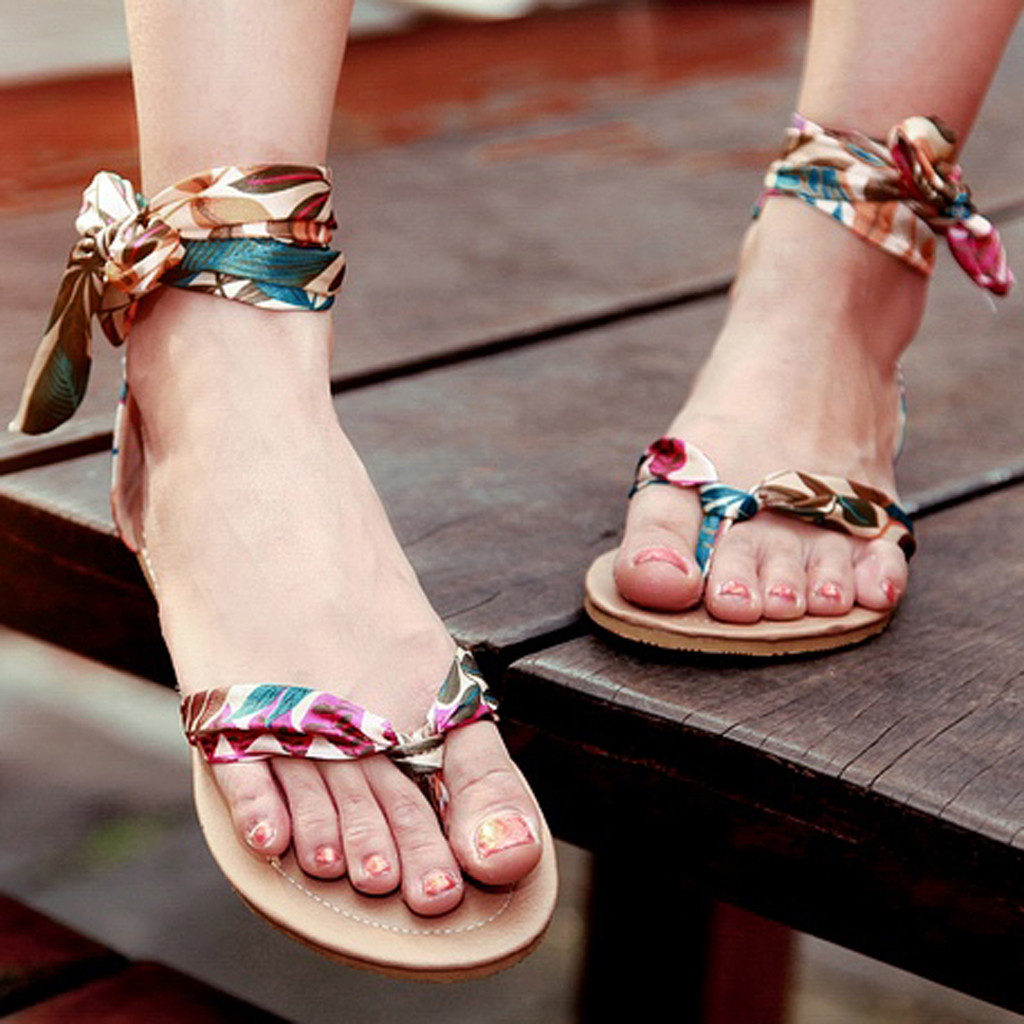 2019 New Fashion <font><b>Sexy</b></font> <font><b>Women</b></font> Sandals Retro Fashion <font><b>Women</b></font> Bohemia Style Lace-Up <font><b>Flats</b></font> <font><b>Shoes</b></font> Open-Toed Rome Sandals <font><b>Sapato</b></font> <font><b>Feminino</b></font> image