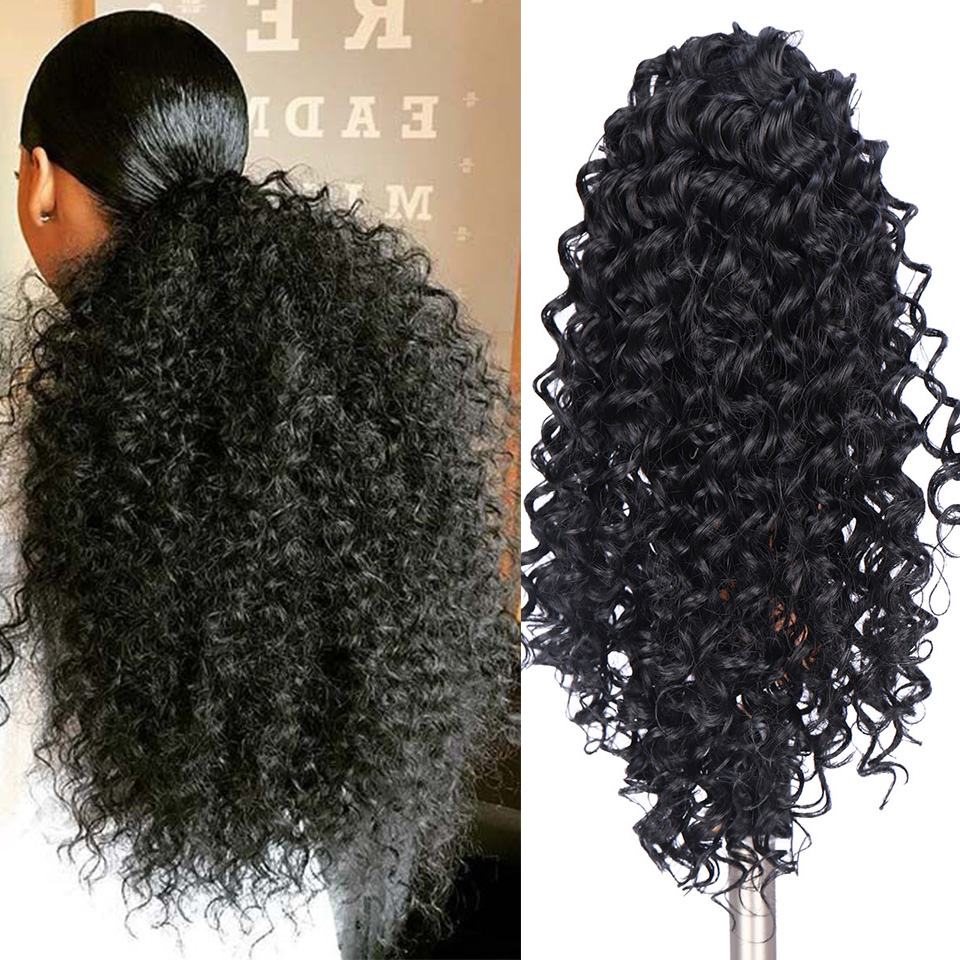 SHANGKE 8'' Synthetic Clip In Warp Ponytail Hair Extension Short Afro Kinky Drawstring Ponytail African American Bun
