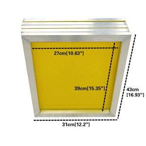 Image 2 - 1Pc 120t maille réutilisable en aluminium sérigraphie cadre 27x39cm avec maille jaune 300TPI pour faire pochoir
