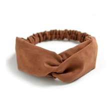 Vintage Cross Knot Hair Ribbon Suede Soft Hairband Elastic Hair Bands Turban Women Solid Color Headband Hair Accessories