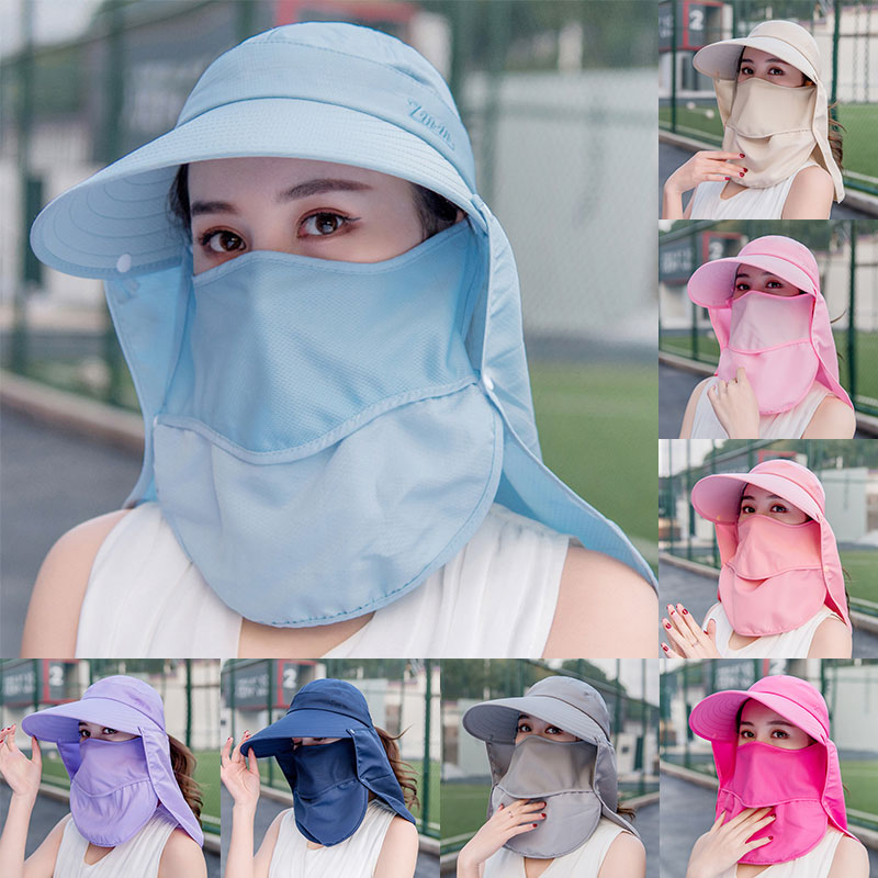 Summer Women Sun Fishing Cap Outdoor Hiking Hat Camping Visor Hat Protection Face Neck Cover Sun UV Protect Cap 2020 New